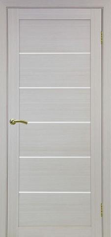 Дверь Optima Porte Турин 506.12, стекло матовое, цвет беленый дуб, остекленная