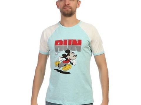 Мужская футболка голубая с белыми рукавами Mickey Run D&G