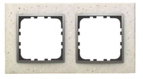 Рамка на 2 поста из декоративного камня. Цвет Белый мрамор. LK Studio LK60 / LK80 (ЛК Студио ЛК60 / ЛК80). 864289