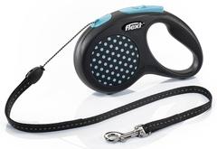 Flexi Design рулетка поводок Синяя S трос до 12 кг, 5 метров
