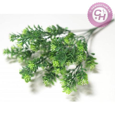 Искусственная зелень мелкого самшита с цветами, букет 7 веток.