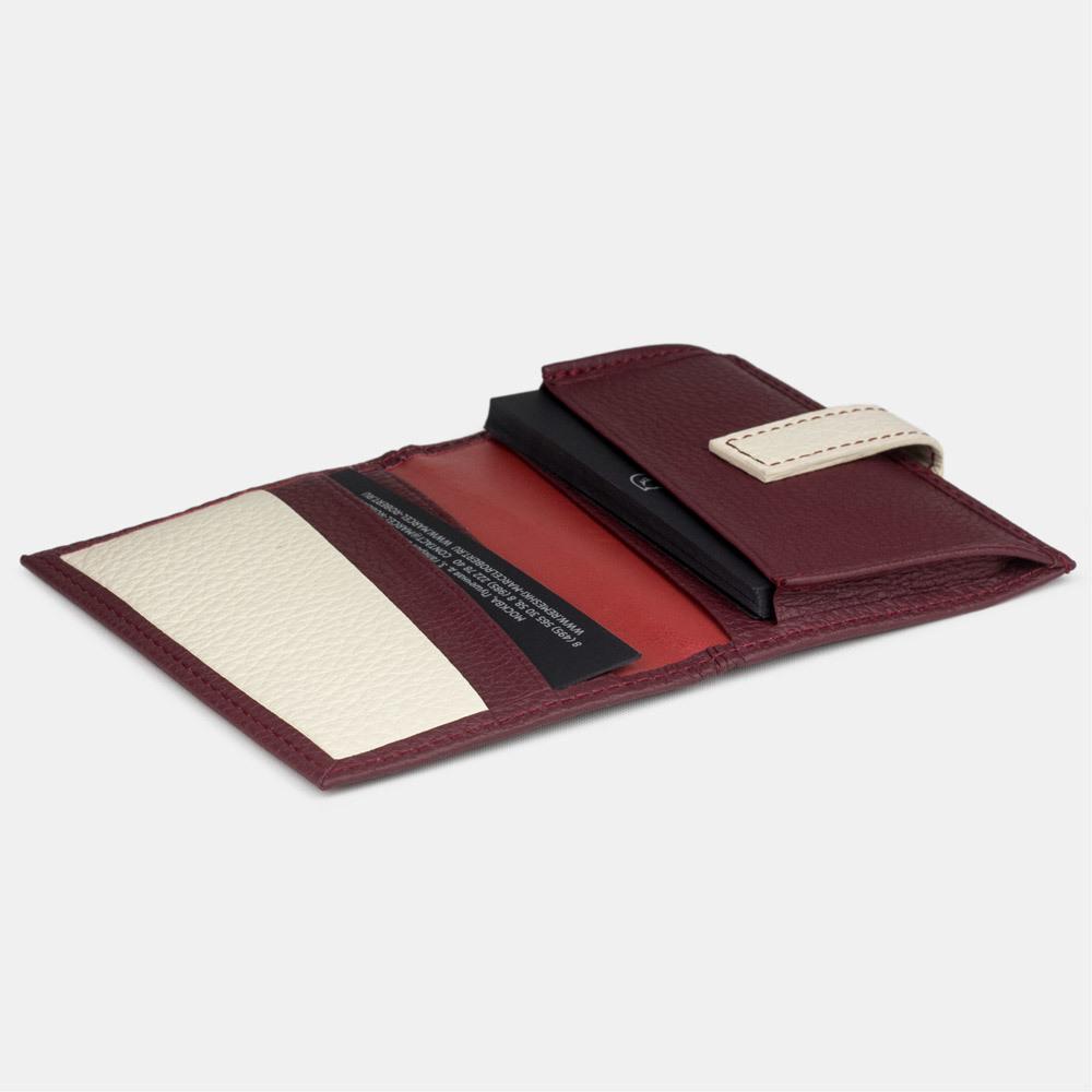 Визитница-кредитница Visit Bicolor из натуральной кожи теленка, бордового цвета