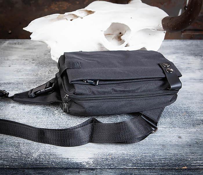 BAG456-1 Сумка черного цвета с одной лямкой через плечо фото 08