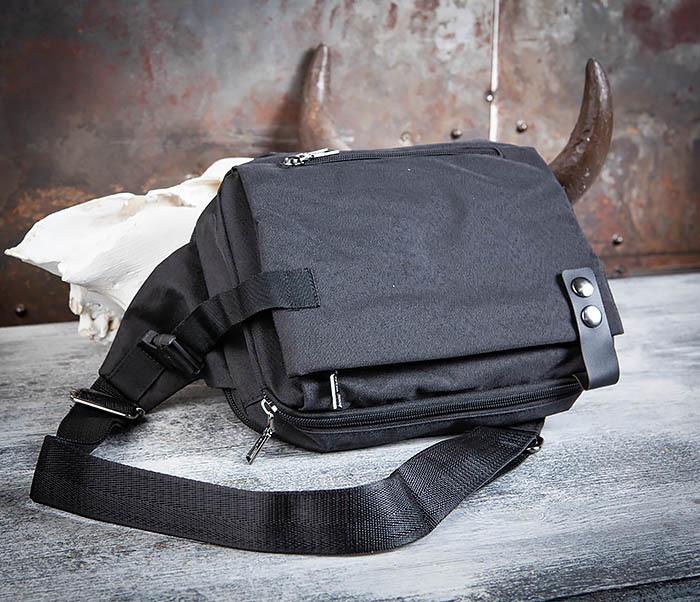 BAG456-1 Сумка черного цвета с одной лямкой через плечо фото 09