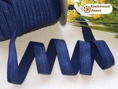 Резинка для повязок  с легким блеском темно-синяя 16 мм