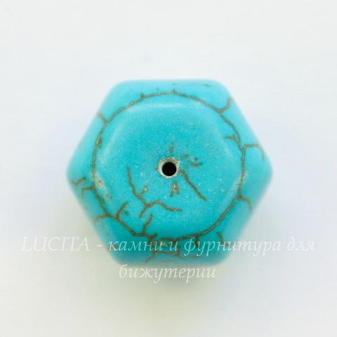 Бусина Говлит (тониров), рондель с огранкой, цвет - бирюзовый, 16x11 мм