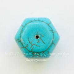 Бусина Говлит (тониров. искусств.) рондель с огранкой, цвет - бирюзовый, 16x11 мм