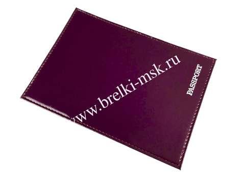 Обложка для паспорта из натуральной кожи, PASSPORT. Цвет Сиреневый