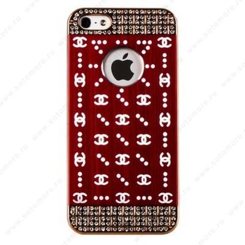 Накладка CHANEL металлическая для iPhone SE/ 5s/ 5C/ 5 золото бордовая