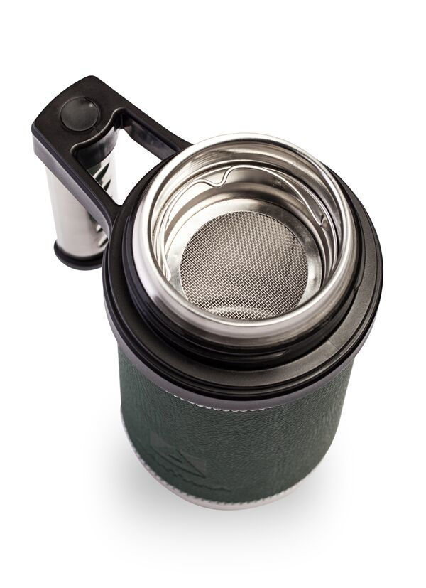 Термокружка Арктика (0,5 литра), зеленая, кожаная вставка