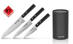 Набор из 3-х кухонных ножей Samura 67 и браш-подставки