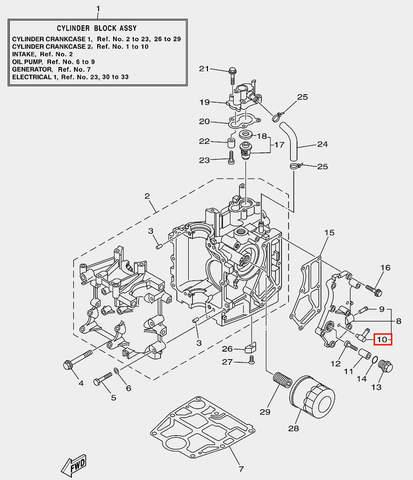 Штуцер для лодочного мотора F20 Sea-PRO (2-10)