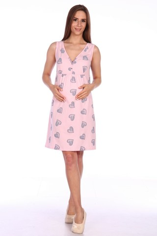 Мамаландия. Сорочка для беременных и кормящих с лифом на кнопках, сердечки на розовом