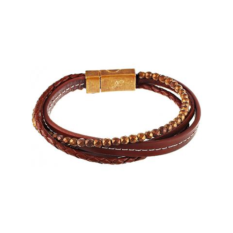 Браслет мужской коричневый 4в1 из кожи и камня JV TOE-594-60178