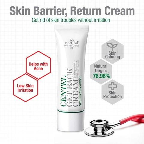 Лечебный концентрированный увлажняющий крем-гель для проблемной кожи, 50 мл / So Natural Centel Get Back Cream
