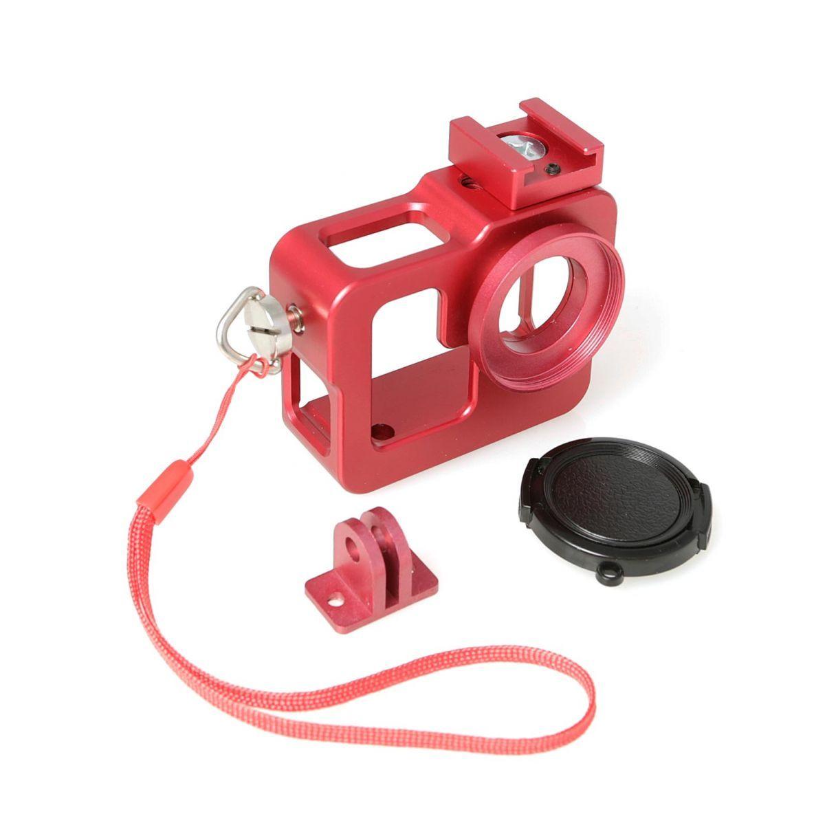 FUJIMI GP FMS-200 red Алюминиевый чехол-рамка для GoPro, с ремешком и штативным гнездом Цвет: красный