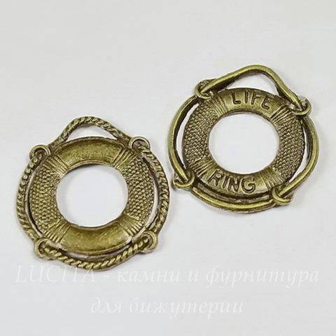 """Подвеска """"Спасательный круг"""" (цвет - античная бронза) 24х22 мм ()"""