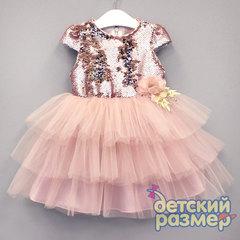 Платье (пайетки, сетка, брошь)