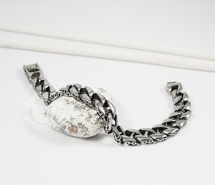 Стильный мужской браслет из стали с гравировкой на звеньях (21 см)
