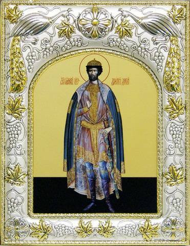 Серебряная икона именная Дмитрий Донской 18x14см