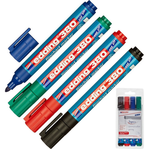 Набор маркеров по бумаге (для флипчартов) EDDING E-380/4 s 4шт./уп.