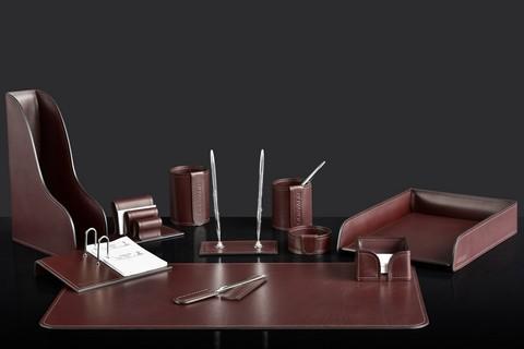 На фото набор на стол руководителя 72617 11 предметов кожа LUX Full Grain цвет