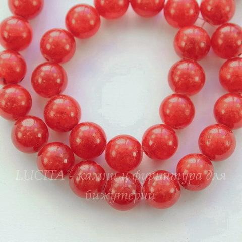 Бусина Жадеит (тониров), шарик, цвет - ярко-красный, 10 мм, нить