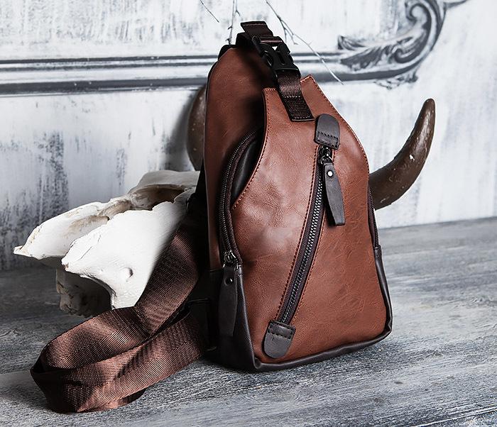 BAG423-2 Коричневая мужская сумка рюкзак с одной лямкой фото 01
