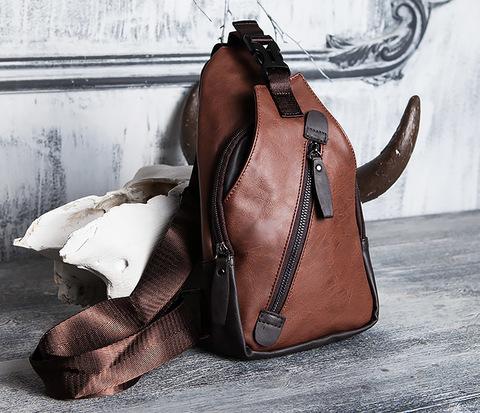 Коричневая мужская сумка рюкзак с одной лямкой