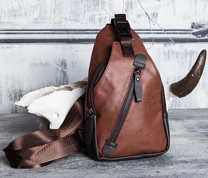 BAG423-2 Коричневая мужская сумка рюкзак с одной лямкой фото 02