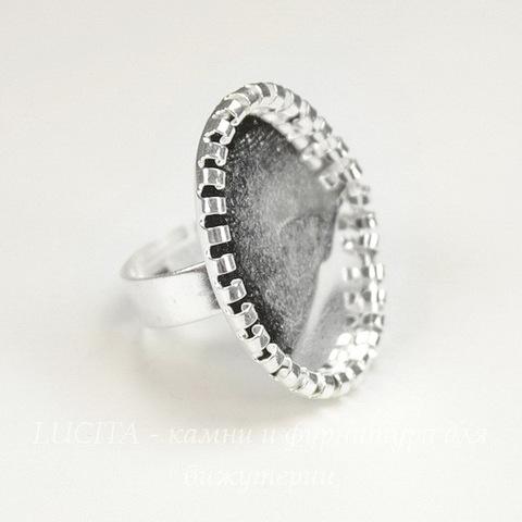 Основа для кольца с сеттингом c круглым краем для кабошона 25х18 мм (цвет - серебро)