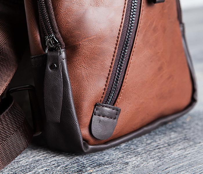 BAG423-2 Коричневая мужская сумка рюкзак с одной лямкой фото 03