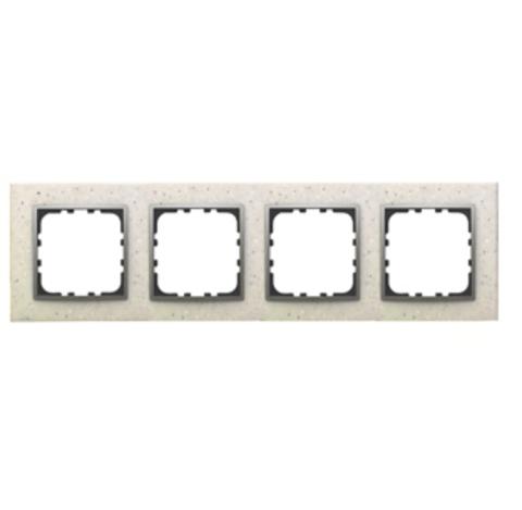 Рамка на 4 поста из декоративного камня. Цвет Белый мрамор. LK Studio LK60 / LK80 (ЛК Студио ЛК60 / ЛК80). 864489