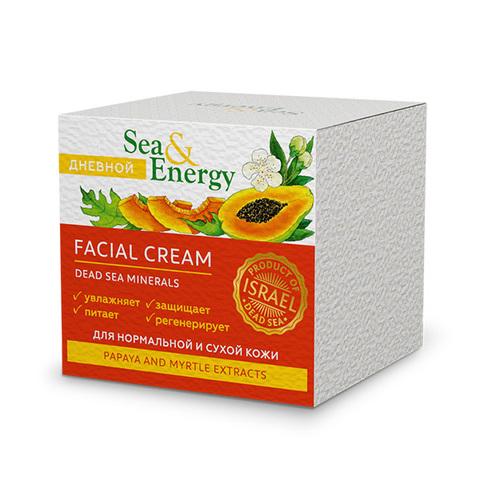 Крем дневной для нормальной и сухой кожи лица с экстрактом папайи и мирта Sea&Energy Facial Cream 50мл
