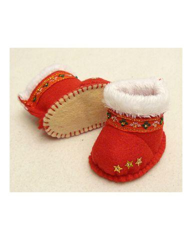 Сапожки-угги из фетра - Красный. Одежда для кукол, пупсов и мягких игрушек.