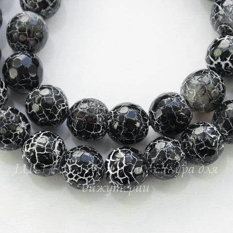 """Бусина Агат """"Крэкл"""", шарик с огранкой, цвет - черный, 10 мм, нить"""