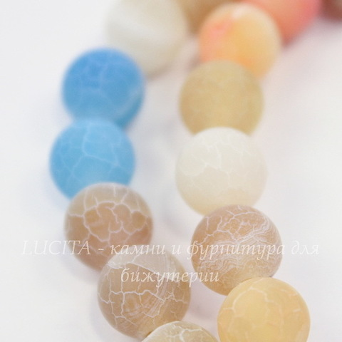 Бусина Агат цветочный матовый (тониров), шарик, цвет - микс, 8 мм, нить