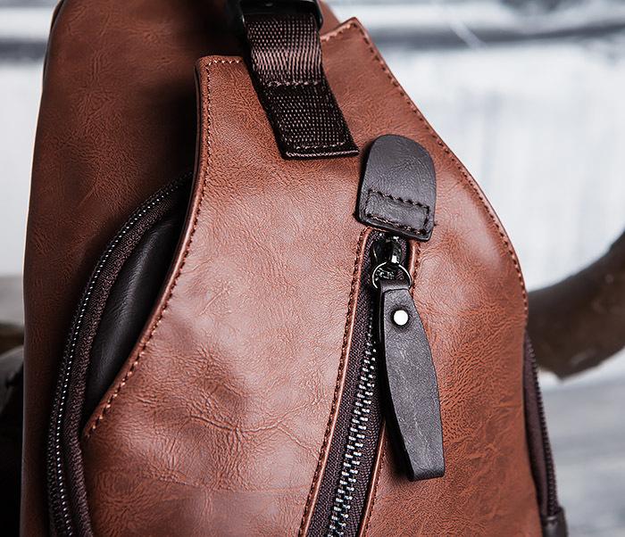 BAG423-2 Коричневая мужская сумка рюкзак с одной лямкой фото 04