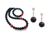 Комплект Giorno e Notte черно-красный (серьги, ожерелье, браслет)