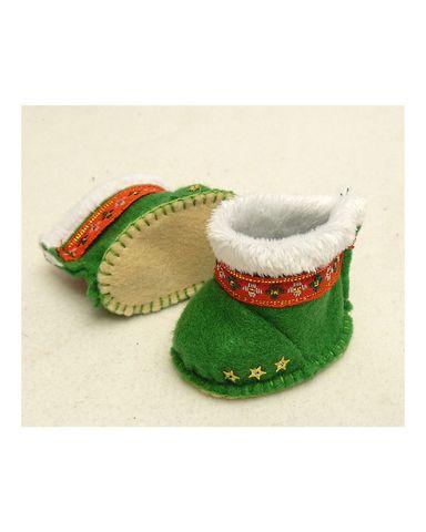 Сапожки-угги из фетра - Зеленый. Одежда для кукол, пупсов и мягких игрушек.