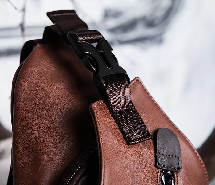 BAG423-2 Коричневая мужская сумка рюкзак с одной лямкой фото 05