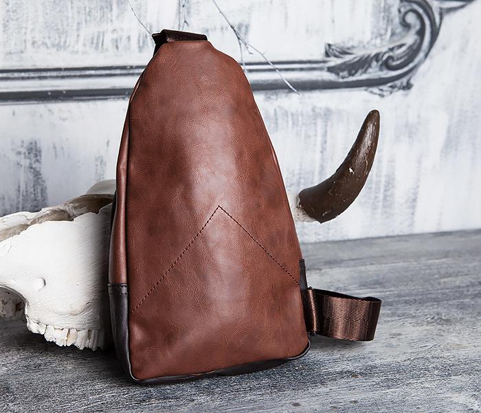 BAG423-2 Коричневая мужская сумка рюкзак с одной лямкой фото 06