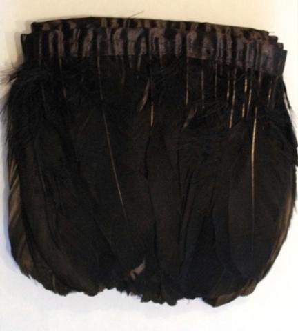 Тесьма  из перьев гуся h-20см., уп. (1,9 - 2) метра, черный