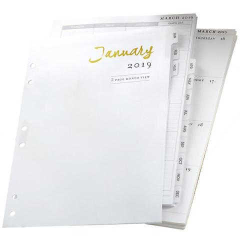 Датированный блок страниц  на 1019 г для планера  формата A5- Color Crush A5 Planner 12-Month Calendar Insert 2019