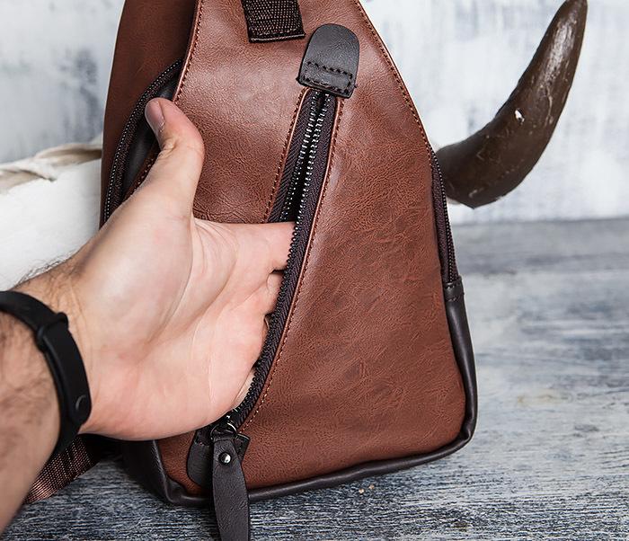BAG423-2 Коричневая мужская сумка рюкзак с одной лямкой фото 07