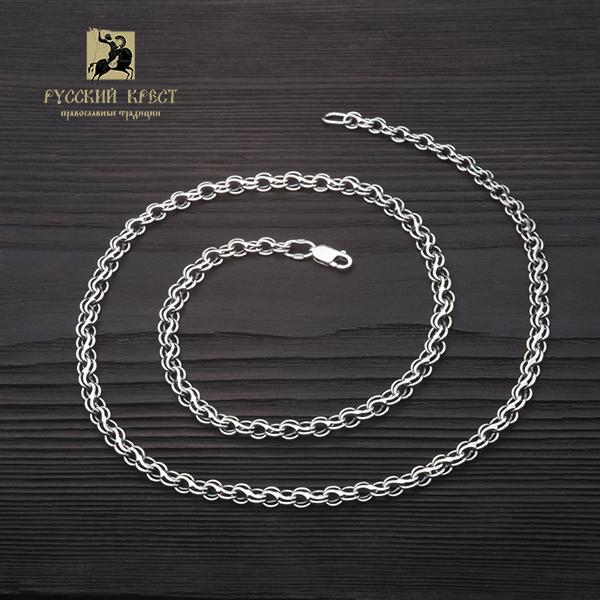 Серебряная цепочка мужская. Плетение Ручей.