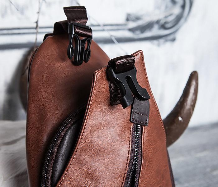 BAG423-2 Коричневая мужская сумка рюкзак с одной лямкой фото 08