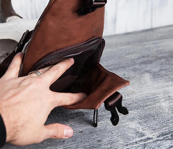 BAG423-2 Коричневая мужская сумка рюкзак с одной лямкой фото 09