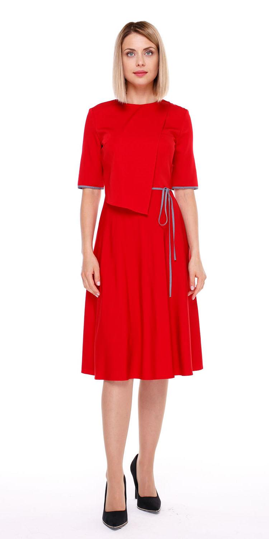 Платье З134-503 - Платье приталенного силуэта с расклешенной от талии юбкой и отлетной деталью на груди. В этом ярком платье, вы не останетесь незамеченной ни в офисе, ни на любом мероприятии.