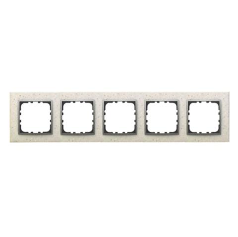 Рамка на 5 постов из декоративного камня. Цвет Белый мрамор. LK Studio LK60 / LK80 (ЛК Студио ЛК60 / ЛК80). 864589